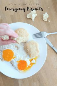 Emergency Biscuits (Super Easy, No Milk, No butter)