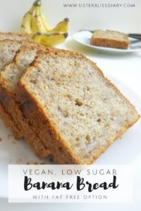 Easy Banana Bread {Vegan, Low-sugar with Fat-free option}