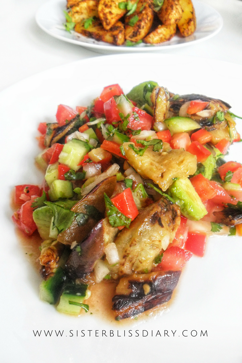 Grilled Eggplant Avocado Salad